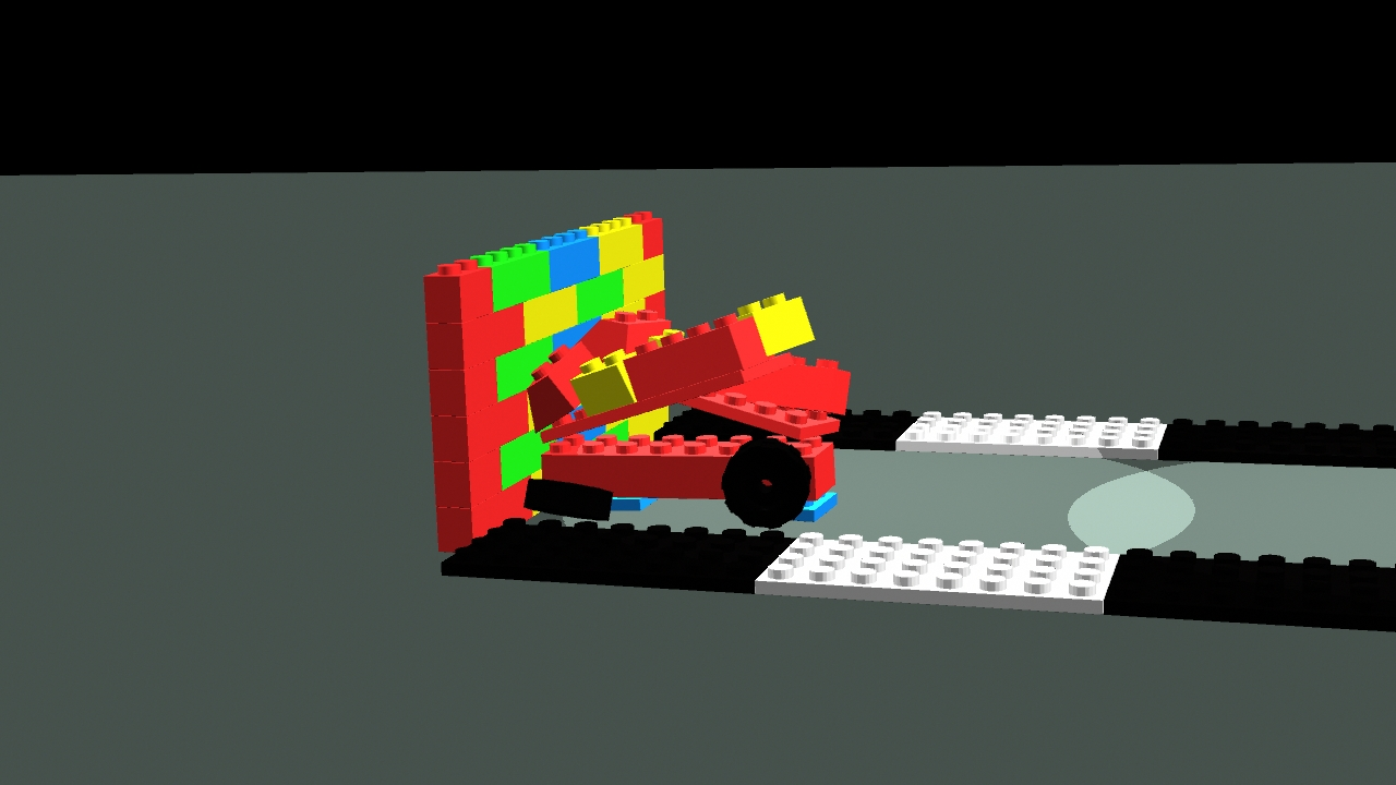 Lego car crashing into a lego wall.
